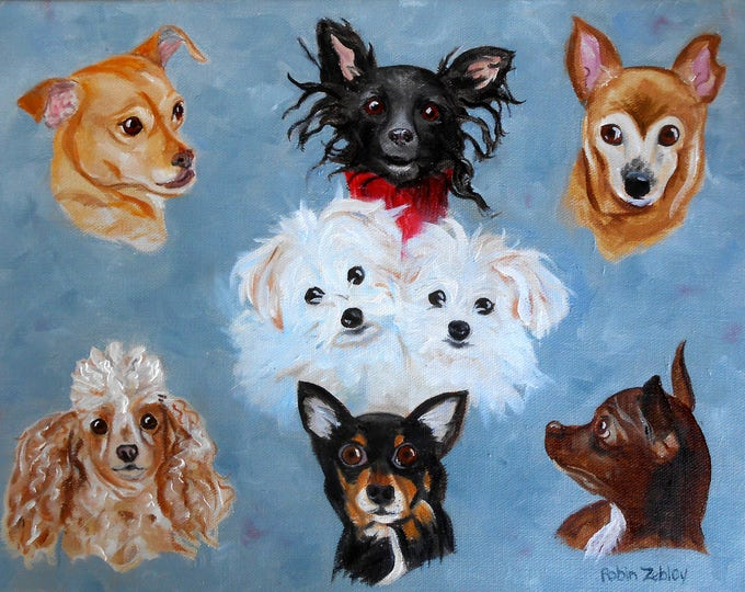 """Group Portrait of Dogs Oil Painting, 16"""" x 20"""" Artist Robin Zebley"""