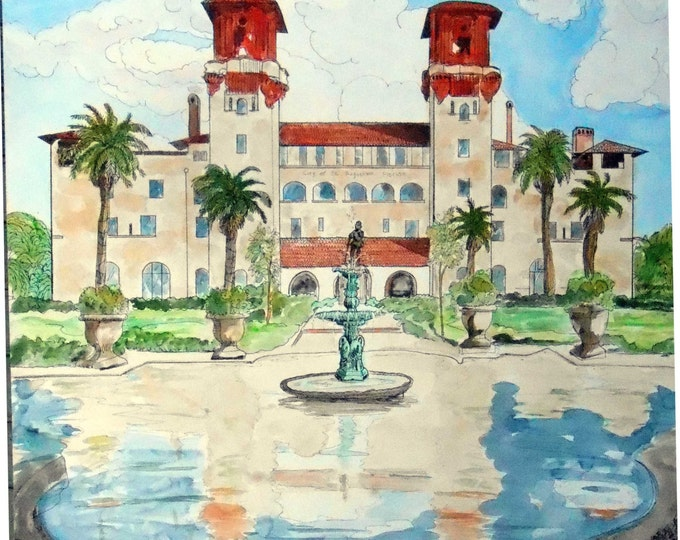 """Wedding Venue Watercolor Painting, Custom From Photos, Large, 30"""" x 40"""", with whimsical ink details, Anniversary  Gift Idea,"""