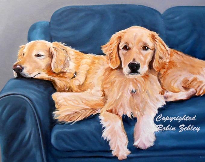 Golden Retriever Art, Pet Portrait Oil Painting Customized