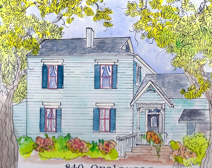 Custom for Susan, Only  House Portrait my unique and upbeat style by me, artist Robin Zebley, in Watercolor and Ink Home Painting Home Art