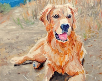 Pet Portrait Oil Painting, Golden Retriever Portrait