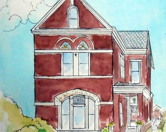 Victorian House Watercolor Painting, Custom Home Portrait Gift Certificate