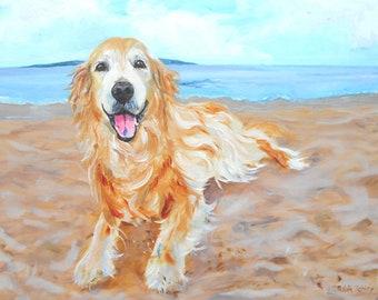 Golden Retriever on Beach Dog Art Print