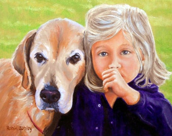Custom Portrait Painting Kid with Dog Home fall