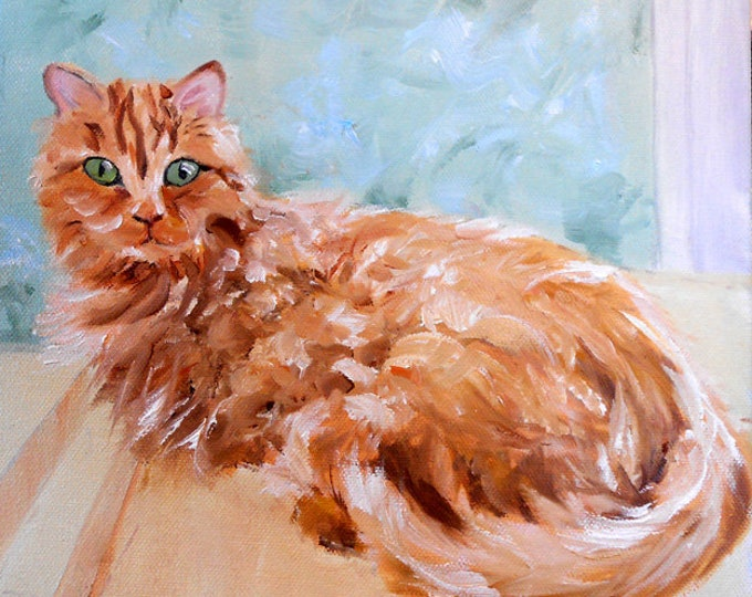 Orange Cat Portrait Oil Painting, customized from your photos, by Artist Robin Zebley, Custom Portrait Art, CustomPortraitArt Home fall