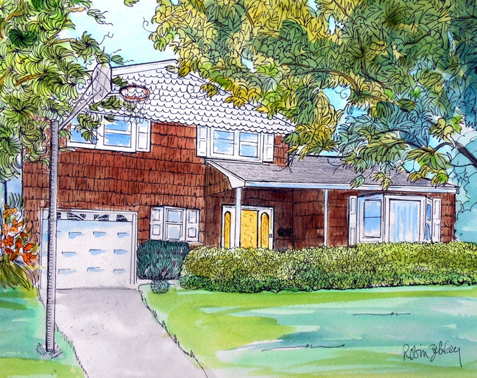 "House Portrait Watercolor and Ink Painting, 11"" x 14"" with mat, ready to frame Gift Certificate Home fall"