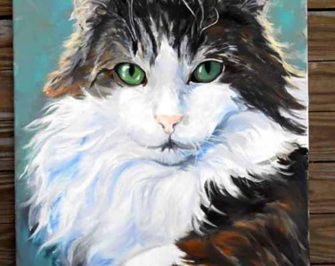 Large Custom Cat Portrait Oil Painting Portrait, Artist Robin Zebley, Unique Pet Lovers Gift