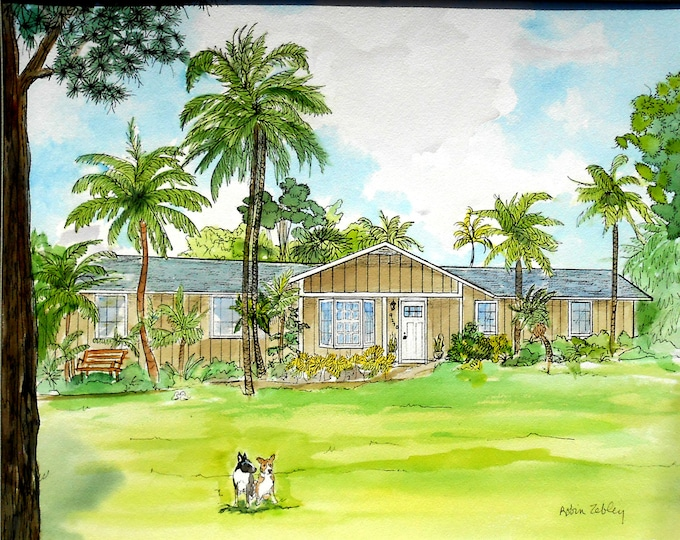 Painting of House from Photos with Pets Gift Certificate