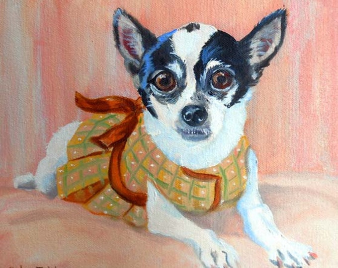 Dog Portrait Oil Painting, Chihuahua or any Breed, Custom Pet Portrait Art, Oil Painting from Photos