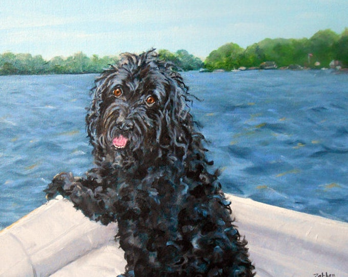 Labradoodle Dog Oil Painting Portrait from Photos, Vacation Memories Art, artist Robin Zebley, Large size 18 x 24 original handpainted gift