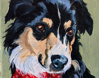 Border Collie Oil Painting Art, Pet Portrait,  Painted in the Traditional Style, hand painting, by artist Robin Zebley from Your Pictures