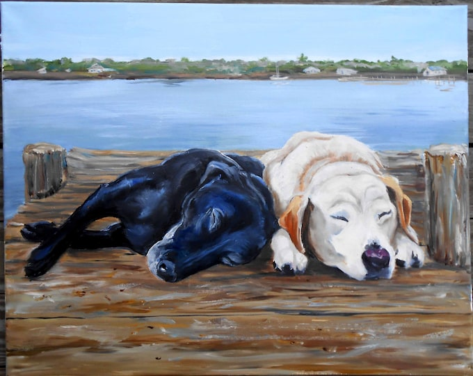Black Lab Art, Yellow Lab Oil Painting Portrait on Canvas - Custom Dog Portrait - by pet artist Robin Zebley, Labrador Retriever Art Home