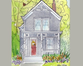 Watercolor House Portrait Painting Home fall