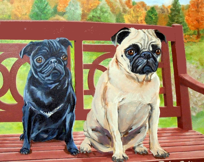 Pugs Portrait Painting, from your photos, Oil s on Canvas, with fall landscape, artist Robin Zebley, who paints fawn and black pugs