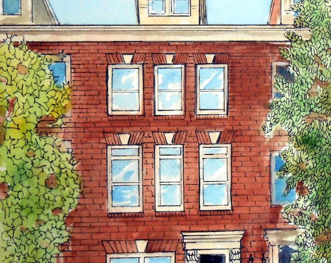 Townhouse Portrait Painting, Row House Watercolor or Oils Painting on Canvas