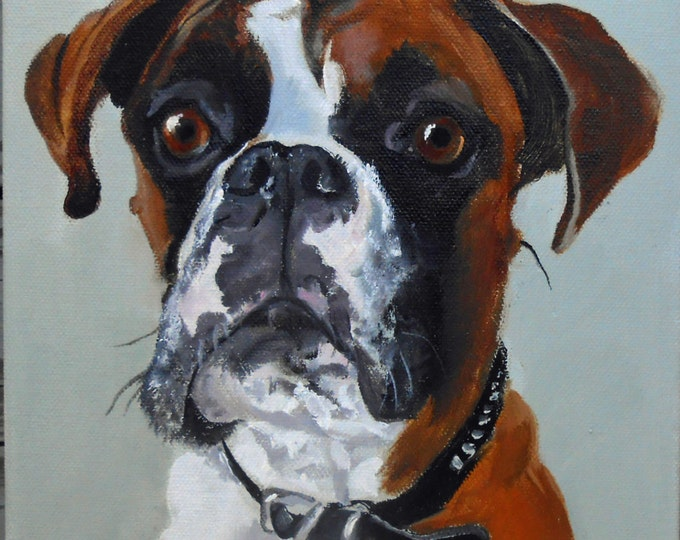 Flashy Boxer Custom Pet Portrait for Christmas Gift Giving for the Dog Lover, Personalized Oil Painting, dog or cat, hand painted
