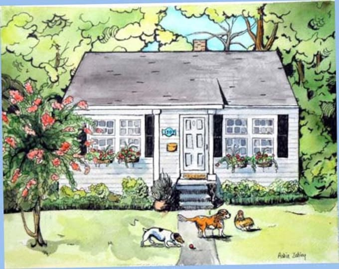Custom House Portrait with Pets, Dogs and Chicken Portrait, 16 x 20. Watercolor Painting with Ink Gift Certificate