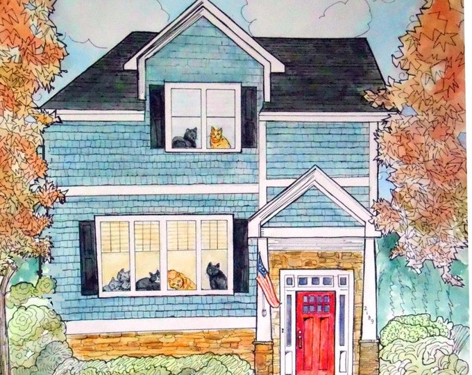 Wedding Gift Idea, Custom Portrait of their home, Watercolor & Ink, touch of whimsy Gift Certificate