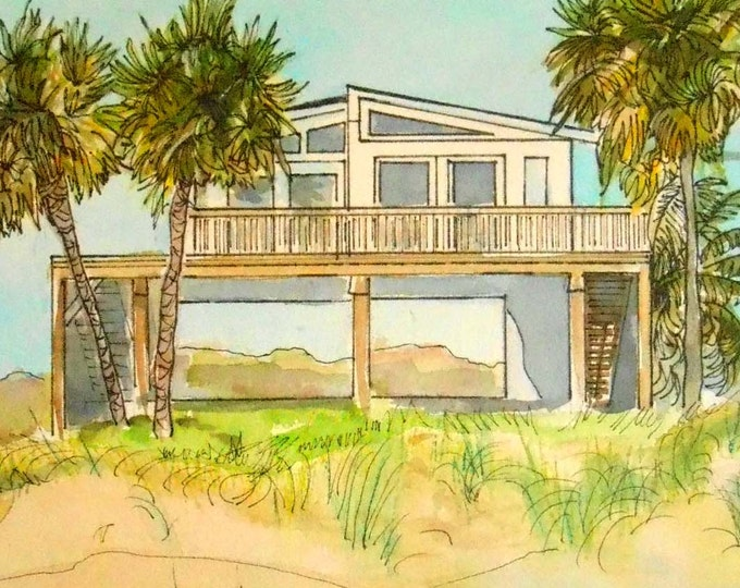 Beach House Art, Shore House Painting, Custom Home painted in Watercolor and Ink by Artist Robin Zebley, Collectible Home fall
