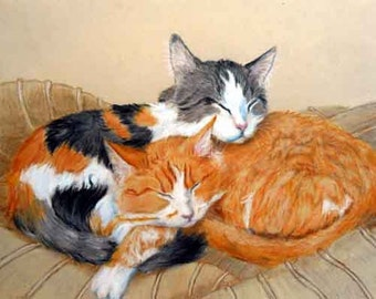 "Personalized Cat Portrait by artist Robin Zebley Drawing or Painting, 8 x 10"", Calico and Orange Tabby or any kitty Home fall"