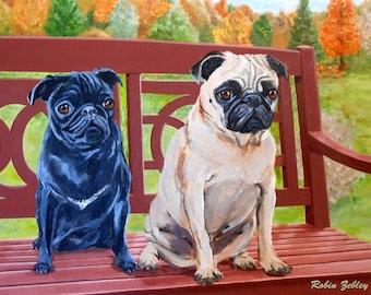 Black and Fawn Pugs Art Print