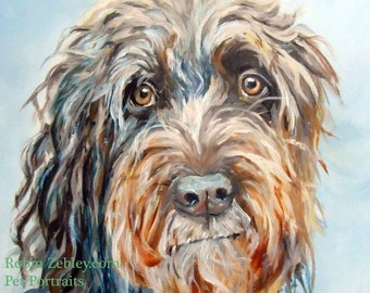 """Wire Haired Pointing Griffon Custom Pet Portrait Oil Painting, 8 x 10"""" Animal Art Home fall"""
