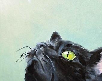 Black Cat and Bee Art Print