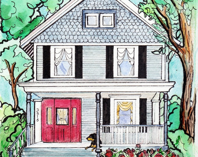 "Custom Home Portrait, 11"" x 14"", with Pets, by me, Artist Robin Zebley, Great Christmas Gift Idea Gift Certificate Home fall"