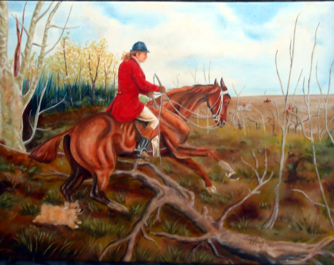 Fox and Hound Large Oil Painting, Custom Portrait, You and YOUR dog Gift Certificate