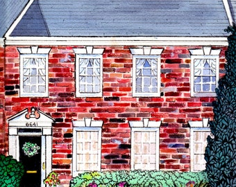 House portrait Painting from Photos, Watercolor and Ink Gift Certificate