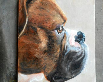 Custom Pet Portrait Oil Painting,  Boxer Art or your dog's breed, Personalized Animal Art Painted artist Robin Zebley Brindle Profile