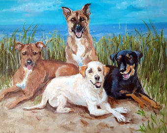 """Oil Painting Portrait 30"""" x 40"""" Original with Beach Background Painted by American Artist Robin Zebley"""