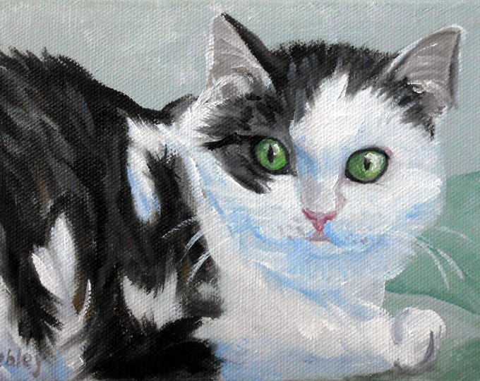 Black and White Cat Oil Painting Art Print, Reproduction of Original Portrait Painted by Me Gift Certificate