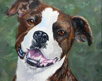 Brindle Pitbull Portrait Oil Painting, Pit Bull Portrait Painter, Custom Pet Portraits