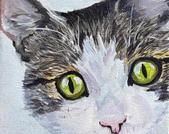 """Original CAT art Oil Painting, 6"""" x 6"""" Square hand painted by Robin Zebley, Ready to Ship"""