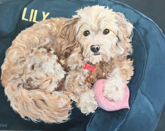 """Handpainted Oil Painting Dog Portrait, Large, 30"""" x 30"""" Square Gallery Wrapped by Artist Robin Zebley"""