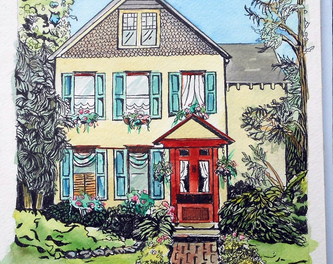 """Watercolor and Ink Custom House Portrait Painting, 16""""  x 20"""", cheerful and bright, whimsical style house illustration"""