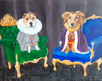 """Royal Dogs in Costume, Custom Oil Extra Large Painting Portrait 24"""" x 36"""" From Your Photos Painted by Artist Robin Zebley"""