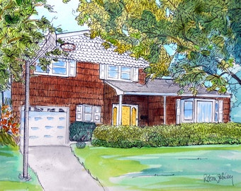 "House Portrait Watercolor and Ink Painting, 11"" x 14"" with mat, ready to frame Gift Certificate"