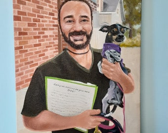 Rescue Day, Dog and New Owner Oil Painting Portrait, Hand Painted by Robin Zebley