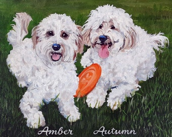 """Large Custom Dog Portraits with two pets, 18"""" x 24"""" Realistic Oil Painting on stretched canvas by me, artist Robin Zebley"""
