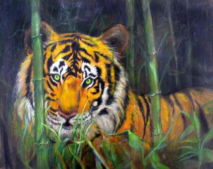 """Tiger In the Jungle Fine Art Print, 8"""" x 10"""" signed Giclee Gift Certificate"""