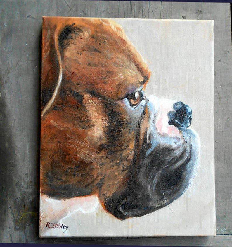 Custom Pet Portrait Oil Painting  Boxer Art or your dog's image 0