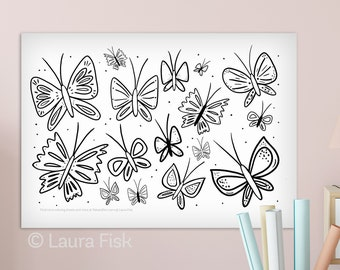 Giant Butterflies 24 x 36 kids coloring sheets huge large page poster childrens black and white oversized coloring book