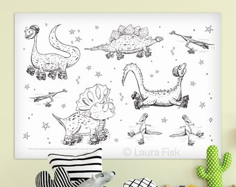 Giant Rollerskating Dinosaurs 24 x 36 kids coloring sheets huge large page poster stegosaurus triceratops bronto childrens black and white