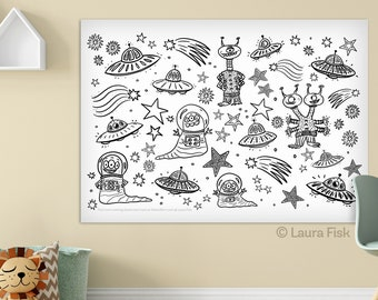 Giant Aliens Space 24 x 36 kids coloring sheets huge large page poster rocket ships spaceship stars sci fi childrens black and white
