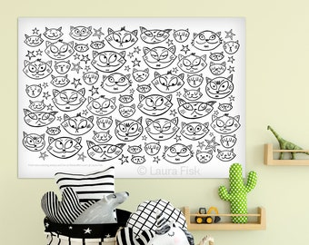 Giant Cute Cats 24 x 36 kids coloring sheets huge large page poster cats kittens stars childrens black and white oversized coloring book