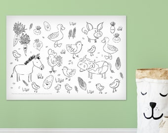Giant Farm Animals 24 x 36 kids coloring sheets huge large page poster vegetables farmer country pig cow chicken childrens black and white