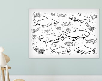Giant Great White Sharks Ocean 24 x 36 kids coloring sheets huge large page poster sea creatures fish squid childrens black and white
