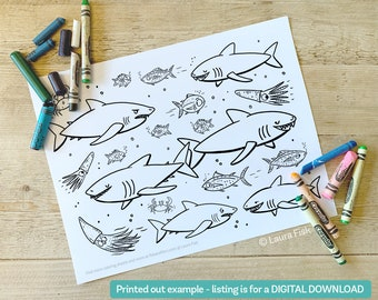 Pack of 6 coloring pages printable - digital download sharks, butterflies aliens, farm animals, cute cats, sharks at sea, and dinosaurs